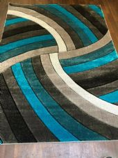Rugs Approx 8x5ft 160x220CM Carved Rugs Top Quality Grey/Teal New Designs Rug